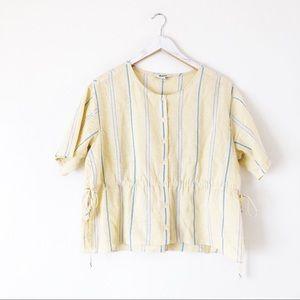 Madewell Drawstring-Waist Shirt in Atlantic Stripe